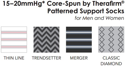 e0c4d47227 15-20mmHg Core-Spun by Therafirm® Patterned Support Socks for Men and Women