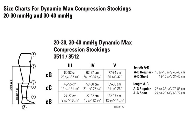 Size Charts For Dynamic Max Compression Stockings 20 30 Mmhg And 40 3511 3512
