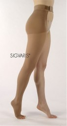 Sigvaris 860 Select Comfort 30-40 mmHg Open Toe Unisex Thigh High with Waist Attachment - 863W