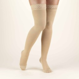 Truform Classic Medical Closed Toe 20-30 mmHg Thigh Highs (w/ Silicone Lace Top)