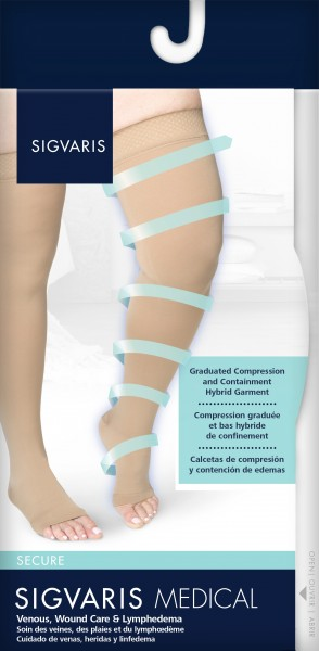 18b88b40cb1ce Sigvaris Secure 30-40 mmhg Open Toe Thigh Highs w/ Silicone Grip Top